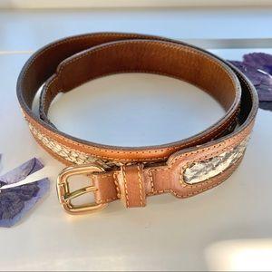 'B-Low the Belt' Camel-tone & Snake print belt M